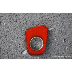 Bague en pierre de lave émaillée orange et argent
