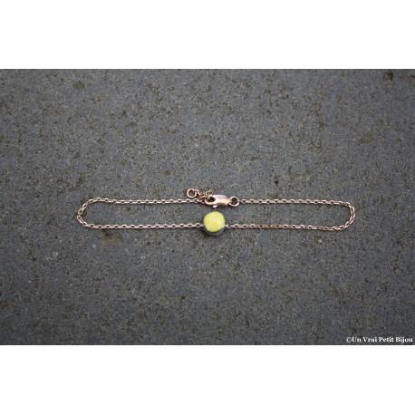 Bracelet laiton doré à l'or fin et lave émaillée jaune