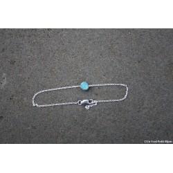 Bracelet en argent et lave émaillée turquoise