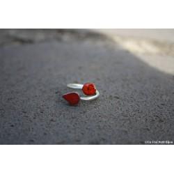 """Bague """"Toi et moi"""" bicolore en argent et lave émaillée rouge/orange craquelé"""