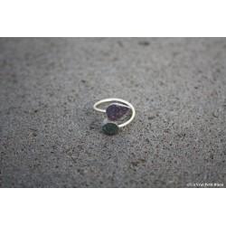 """Bague """"Toi et moi"""" bicolore en argent et lave émaillée violet/vert de gris"""