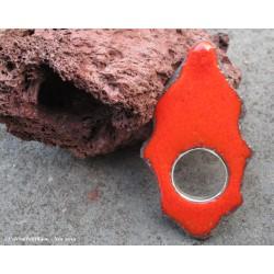 """Bague """"Berbère"""" en  pierre de lave émaillée orange et argent"""