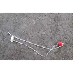 Bracelet en argent et lave émaillée rouge
