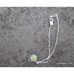 Bracelet en argent et lave émaillée vert pistache