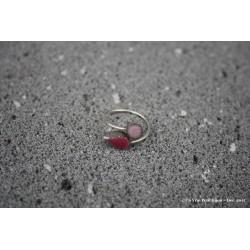 """Bague """"Toi et moi"""" bicolore en argent et lave émaillée rose/vieux rose"""