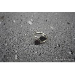 """Bague """"Toi et moi"""" bicolore en argent et lave émaillée vert de gris/violet sombre"""