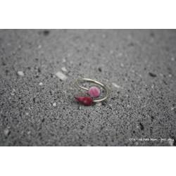 """Bague """"Toi et moi"""" bicolore en argent et lave émaillée rose clair/vieux rose"""