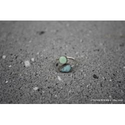 """Bague """"Toi et moi"""" bicolore en argent et lave émaillée vert clair/bleu ciel"""