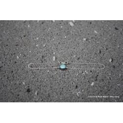 Bracelet en argent et lave émaillée bleu irisé