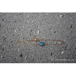 Bracelet en laiton doré à l'or fin et lave émaillée bleu vert