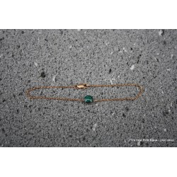 Bracelet en laiton doré à l'or fin et lave émaillée vert émeraude
