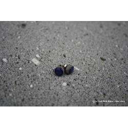 Boucles d'oreilles en argent et lave émaillée bleu nuit