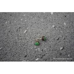 Boucles d'oreilles en argent et lave émaillée vert jade