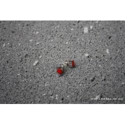 Boucles d'oreilles en argent et lave émaillée rouge