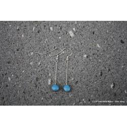 Pendants d'oreilles en argent et lave émaillée bleu piscine