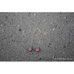 Pendants d'oreilles en argent et lave émaillée rose
