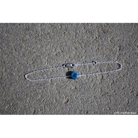 Bracelet argent et lave émaillée bleu canard